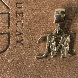 "Beautiful initial ""M"" rhinestone silver Charm"